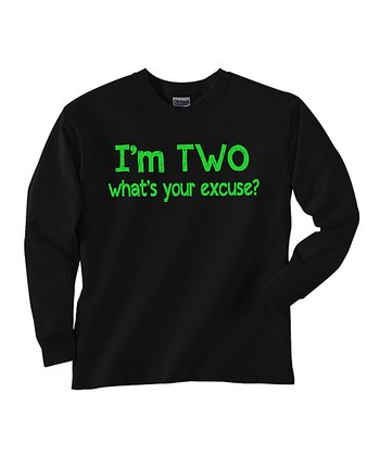 Black 'I'm Two' Tee - Toddler & Kids