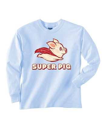 Baby Blue 'Super Pig' Tee - Toddler & Boys