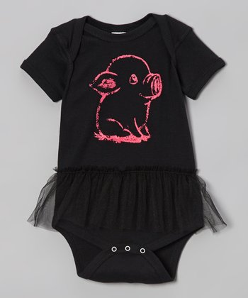 Black & Pink Pig Skirted Bodysuit - Infant