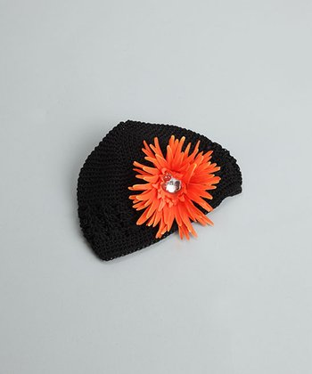 Black Beanie with Orange Flower - Infant & Toddler