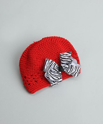 Red Beanie with Zebra Bow - Infant & Toddler
