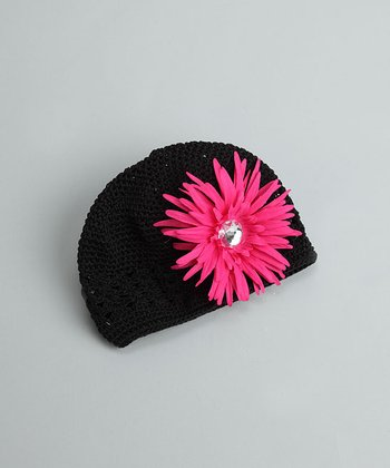 Black Beanie with Dark Pink Flower - Infant & Toddler