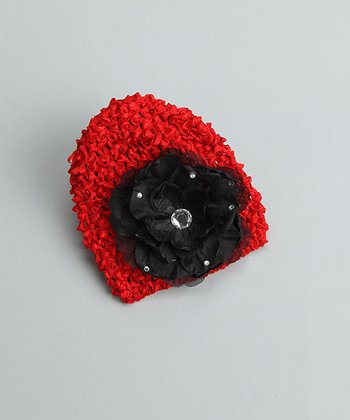Red Beanie with Black Bling Flower - Infant