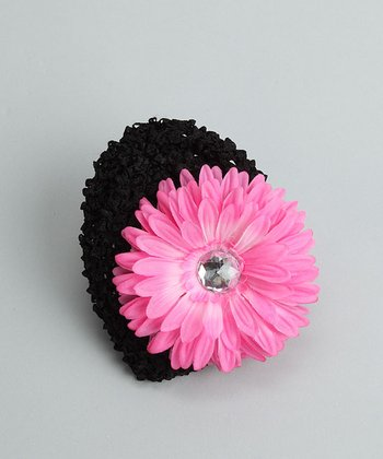 Black Beanie with Hot Pink Flower - Infant