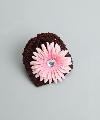Brown Beanie with Light Pink Flower - Infant
