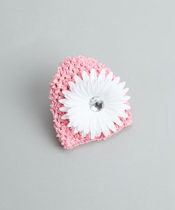 Little Diva - Pink Beanie with White Flower