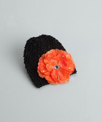 Black Beanie with Orange Bling Flower - Infant