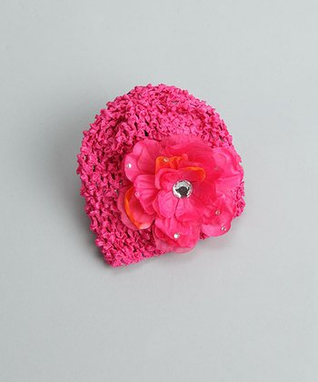 Dark Pink Beanie with Dark Pink Bling Flower - Infant