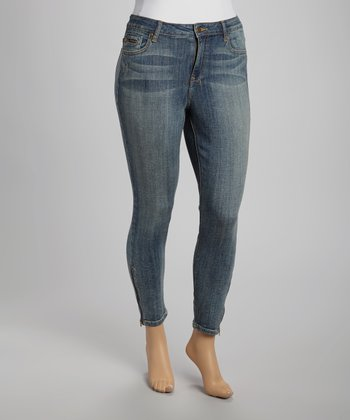 Medium Stone Wash Ankle-Zipper Cropped Skinny Jeans - Plus