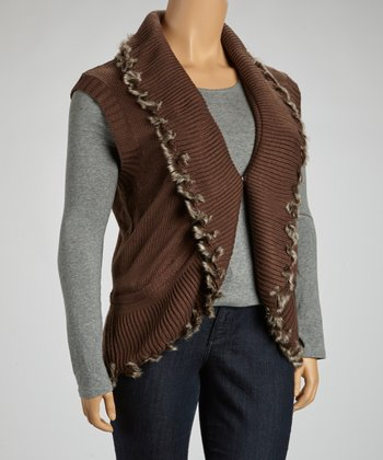 Brown Ribbed Faux Fur Fringe Vest - Plus