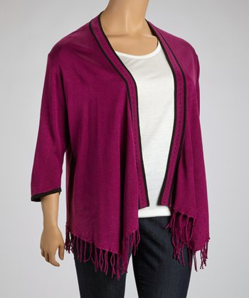 Purple & Black Fringe Open Cardigan - Plus