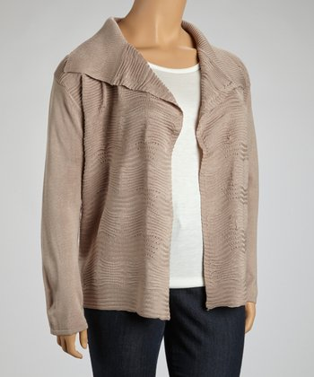 Beige Ribbed Open Cardigan - Plus
