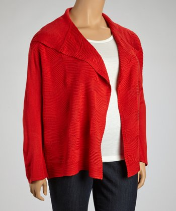 Red Ribbed Open Cardigan - Plus