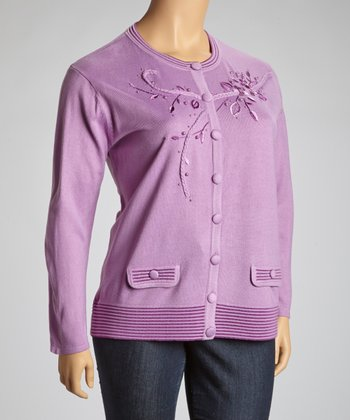 Purple Floral Embroidered Scoop Neck Cardigan - Plus