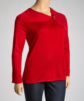 Red Embellished Top - Plus