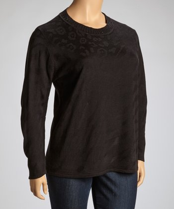 Black Embellished Crewneck Sweater - Plus