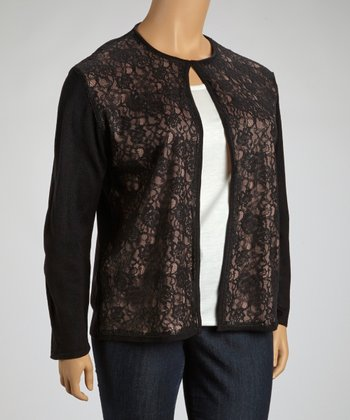 Gray & Black Lace Crewneck Cardigan - Plus