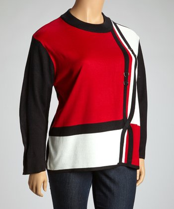 Red & White Embellished Color Block Sweater - Plus