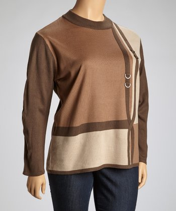 Brown Embellished Color Block Sweater - Plus
