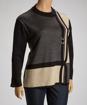Gray & Beige Embellished Color Block Sweater - Plus