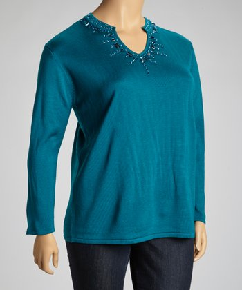 Teal Embellished V-Neck Sweater - Plus