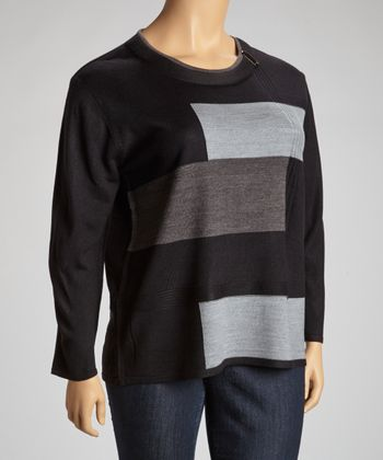 Gray & Black Geometric Color Block Sweater - Plus