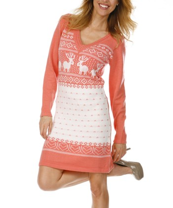 Peach & White Fair Isle Sweater Dress