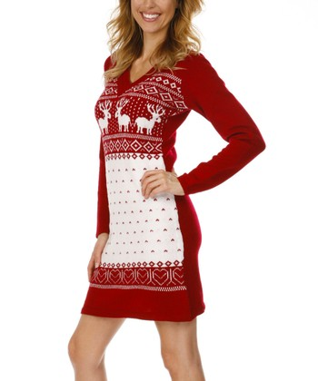Red & White Fair Isle Hooded Sweater Dress