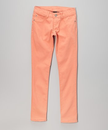 Pink Hearts Coral Skinny Jeans