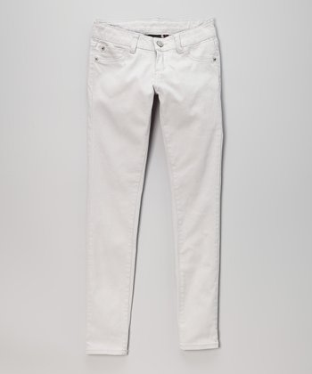 Pink Hearts Silver Skinny Jeans