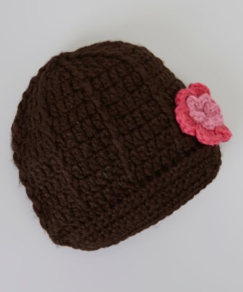 Brown & Pink Flower Brimmed Beanie