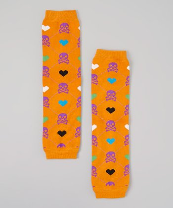 Orange & Purple Skull Leg Warmers