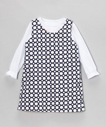 White Tee & Orange Whale Reversible Dress - Toddler & Girls