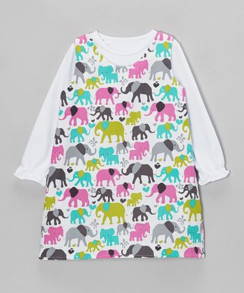 White Tee & Elephant Walk Reversible Dress - Toddler & Girls