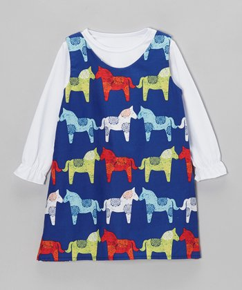 White Tee & Royal Horse Reversible Dress - Toddler & Girls