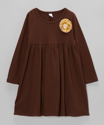Brown Flower Dress - Toddler & Girls