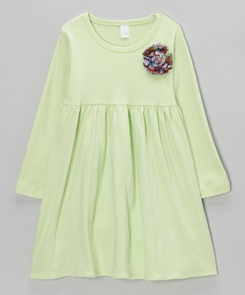 Green Flower Dress - Toddler & Girls