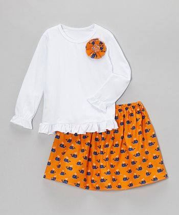 Orange Whale Skirt & Shirt - Toddler & Girls