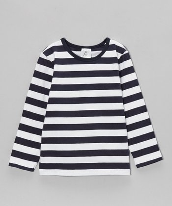 Navy & White Stripe Tee - Toddler & Girls