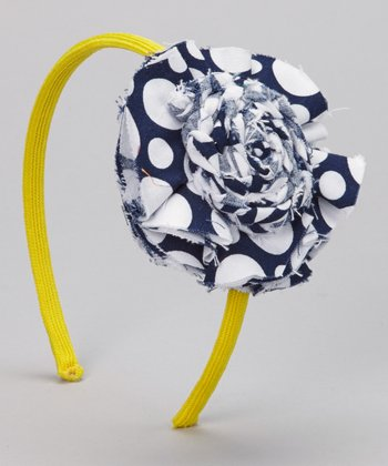 Blue & Yellow Polka Dot Headband