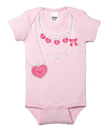 GANZ Pink 'Love' Heart Necklace Bodysuit
