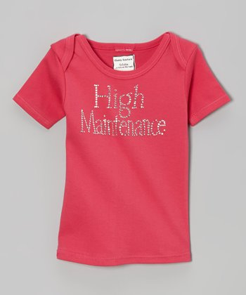 Dark Pink Rhinestone 'High Maintenance' Lap Neck Tee