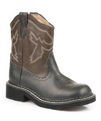 Black & Brown Stitch Cowboy Boot - Kids