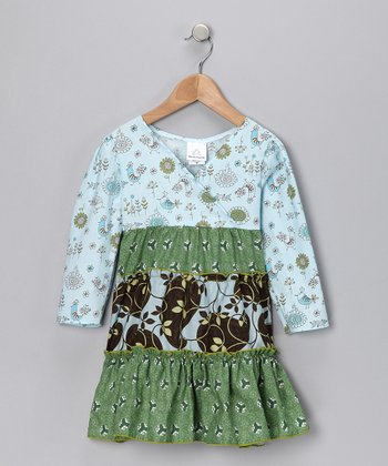 Blue Cutie Bird Ruffle Dress - Toddler & Girls
