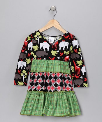 Black Zoo Animals Ruffle Dress - Toddler & Girls