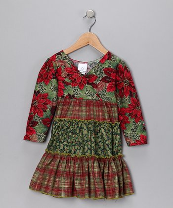 Red & Green Floral Ruffle Dress - Toddler & Girls