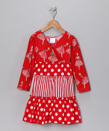 Red Merry Mary Ruffle Dress - Toddler & Girls