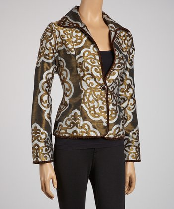 Brown Adorn Reversible Jacket