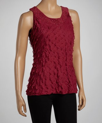 Sangria Ruffle Shimmer Sleeveless Top