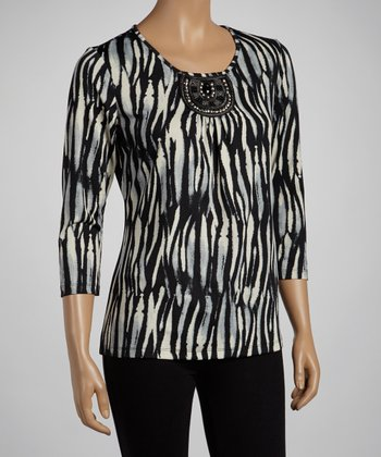 Black Brushstroke Shimmer Top